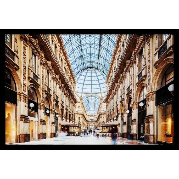 Wanddecoratie Galleria Vittorio Emanuele Milano 120x80cmmet zwarte baklijst