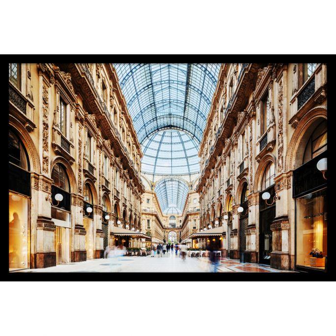 Wanddecoratie Galleria Vittorio Emanuele Milano 135x90cmmet zwarte baklijst