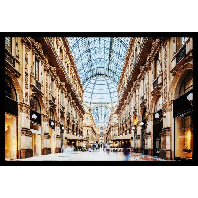 Wanddecoratie Galleria Vittorio Emanuele Milano 150x100cmmet zwarte baklijst