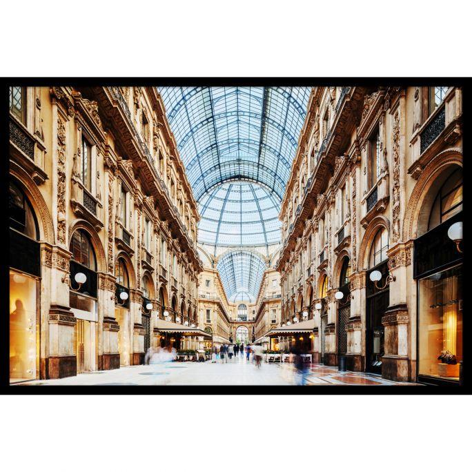 Wanddecoratie Galleria Vittorio Emanuele Milano 180x120cmmet zwarte baklijst