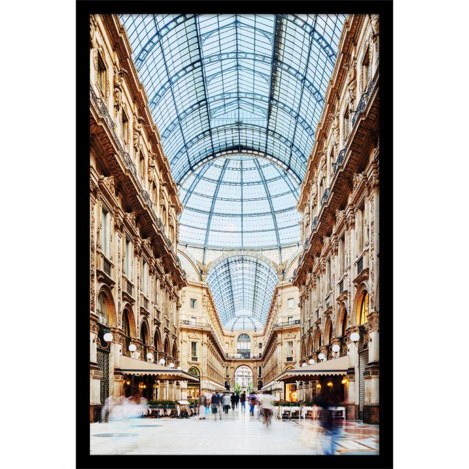 Wanddecoratie Galleria Vittorio Emanuele Milano 80x120cmmet zwarte baklijst
