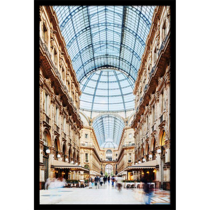 Wanddecoratie Galleria Vittorio Emanuele Milano 90x135cmmet zwarte baklijst