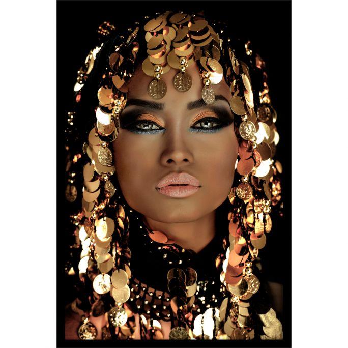 Wanddecoratie Queen of Gold 100x150cmmet zwarte baklijst