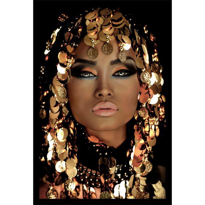 Wanddecoratie Queen of Gold 80x120cmmet zwarte baklijst