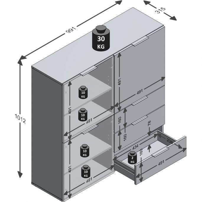 Kast Dronten - 3 deuren 3 laden