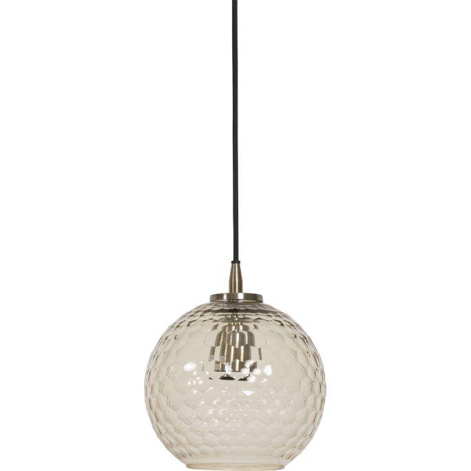 Hanglamp Dionne 20x22cm glas en antiek brons