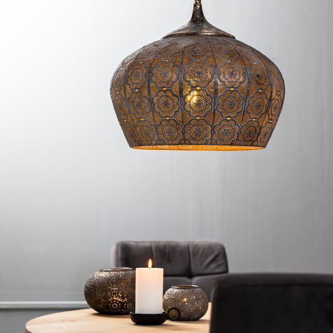 Hanglamp Emine 44cm bruin goud