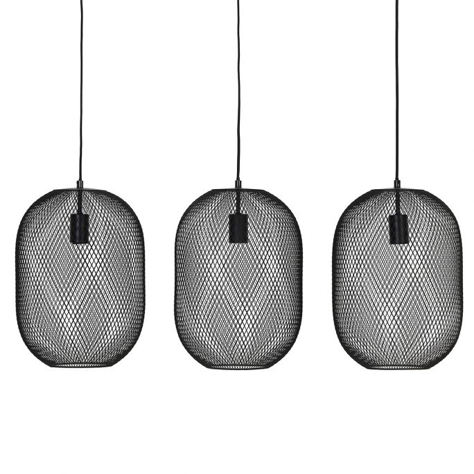 Hanglamp Rune 3-lichts zwart