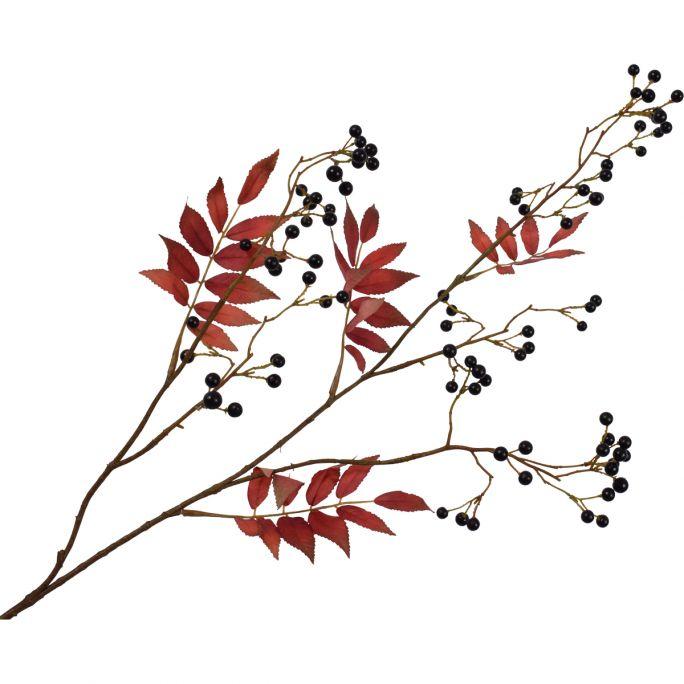 Kunstbloem Bessentak rood