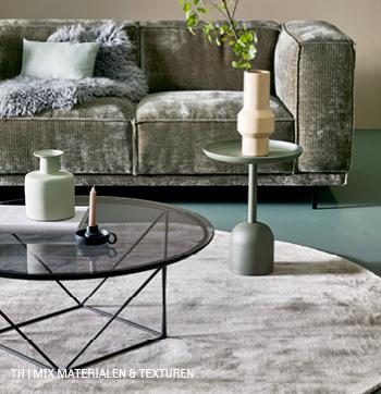 Mix harde en zachte materialen en texturen in retro style interieur bij Trendhopper