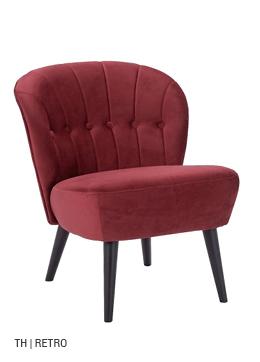 Trendhopper fauteuil Vino krijgt extra retro uitstraling met bordeauxrode stof