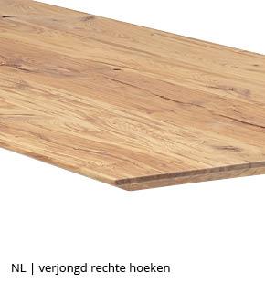 rechthoekige tafel met schuine verjongde rand en rechte hoeken bij NLwoont