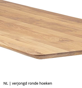 rechthoekige tafel met schuine verjongde rand en ronde hoeken bij NLwoont