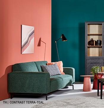 inspiratie van Trendhopper contrast terra teal in je interieur.