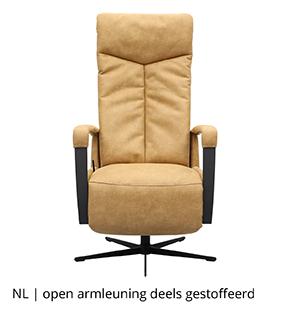 NLwoont relaxfauteuil met open armleuning deels gestoffeerd