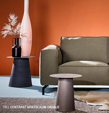 inspiratie van Trendhopper contrast mintblauw oranje in je interieur.