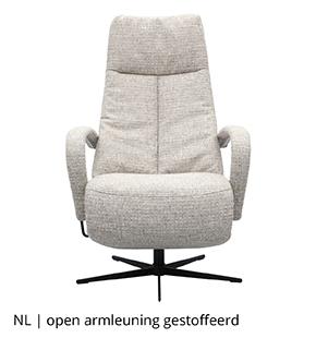 NLwoont relaxfauteuil met open armleuning gestoffeerd