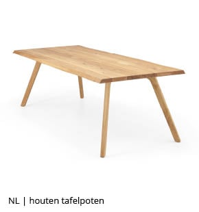 Houten tafel met houten tafelpoten bij NLwoont