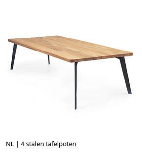 4 stalen tafelpoten voor houten tafel bij NLwoont