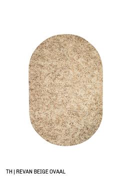 Trendhopper ovalen vloerkleed op maat revan kleur beige