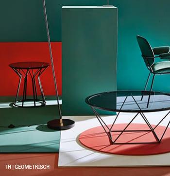 Geometrische vormen in Trendhopper tafeltjes en verlichting