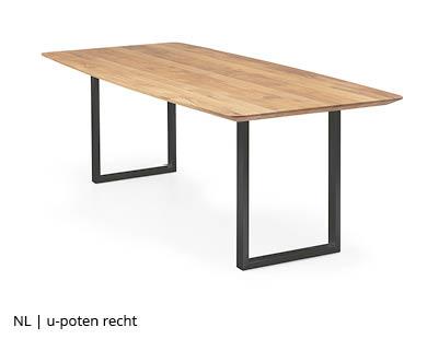 Rechtopstaande stalen u-poot tafelpoten voor NLwoont tafel op maat