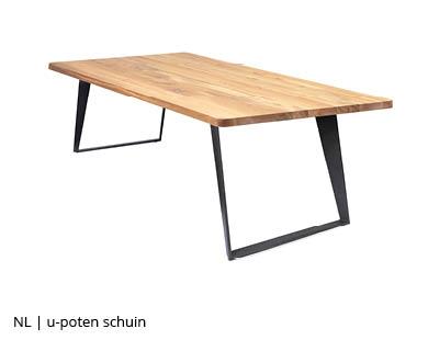 Schuinstaande stalen u-poot tafelpoten voor NLwoont tafel op maat