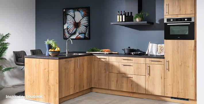inspiratie houtlook keuken bij Budget Home Store