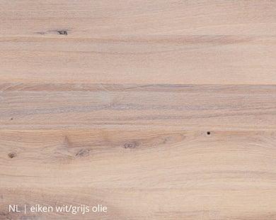 Eiken blad met wit/grijze olie voor NLwoont tafel op maat