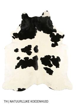 Koeienhuid vloerkleed van natuurlijk materiaal bij Trendhopper