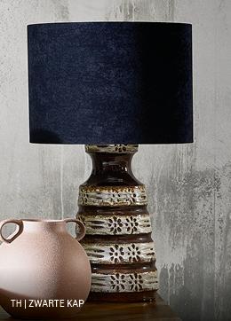 Trendhopper vintage lamp met lampenkap in zwart
