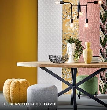 Inspiratie voor DIY wanddecoratie met behang bij Trendhopper in eetkamer