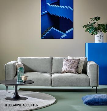 Accentkleur blauw in decoratie van Trendhopper