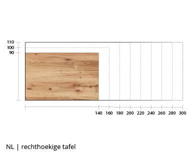 NLwoont rechthoekige tafel op maat