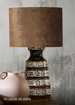 Trendhopper vintage lamp met lampenkap in goud velours