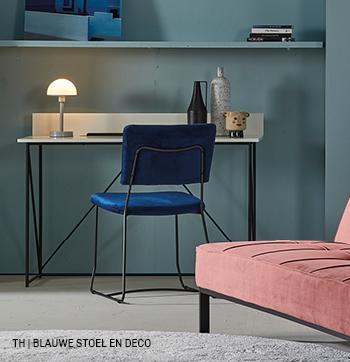 Accentkleur blauw in Trendhopper decoratie en eetkamerstoel
