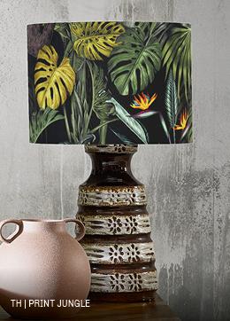 Trendhopper vintage lamp met lampenkap in jungleprint