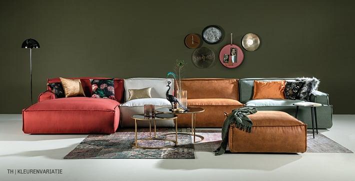 Trendhopper bank Barletta met elementen in verschillende kleuren stof