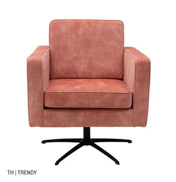 Trendhopper fauteuil Boston in trendy terra roze stof