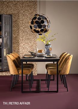 Retro affair met meubelserie Gavi #kast #eettafel #stoelen #interieurdesign #trendhopper
