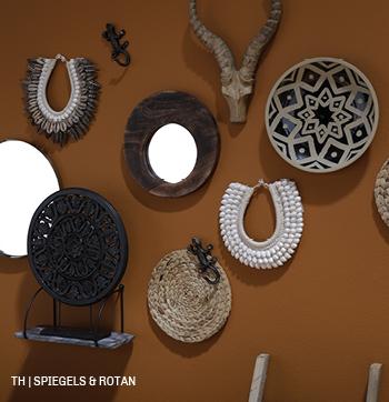 inspiratie voor wanddecoratie met spiegels en manden bij trendhopper