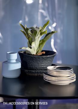 Bloempot kunstplant, servies en tafel van Trendhopper #accessoires #servies