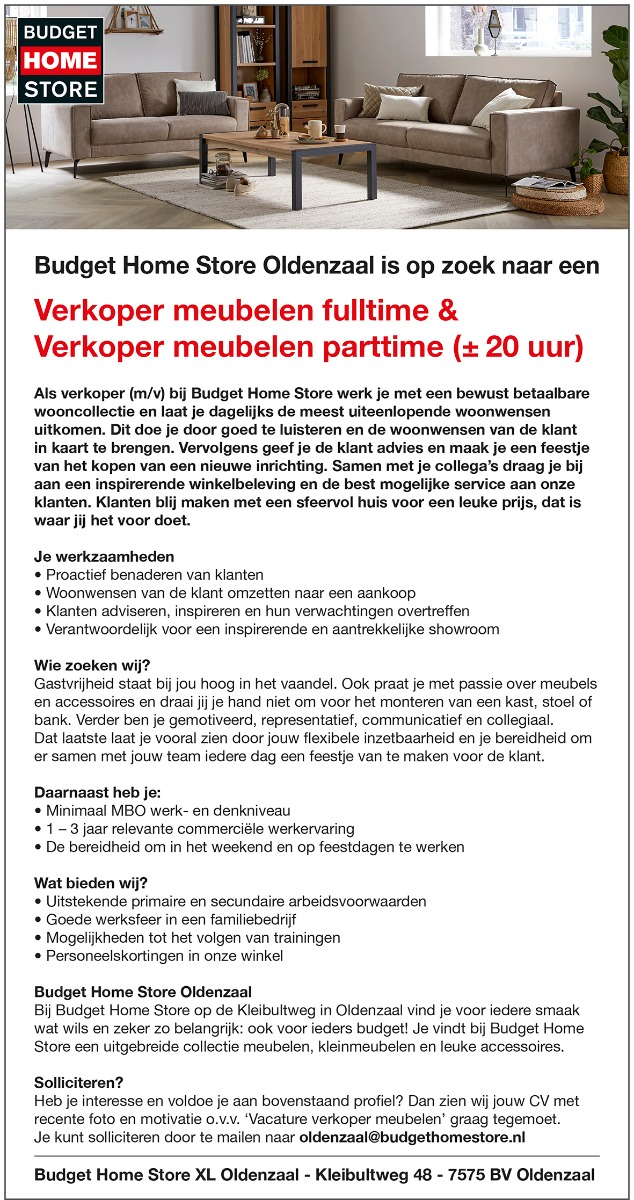Vacature BHS Oldenzaal