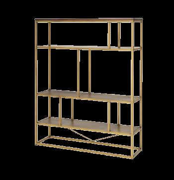 Hoge boekenkast Match met goudkleurig metaal en acaciahout