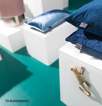 Kussenhoezen in blauw uit de Trendhoper collectie #sierkussens