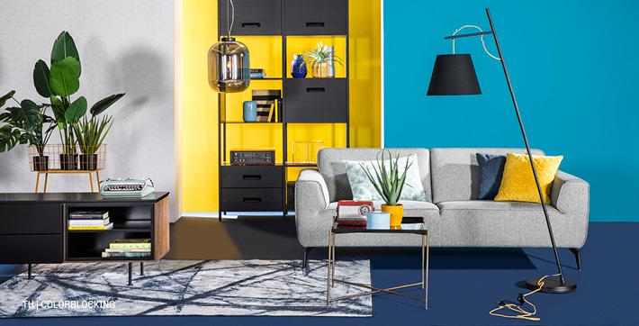 inspiratie trends tips van trendhopper colorblocking in het lente interieur #kast #vloerkleed