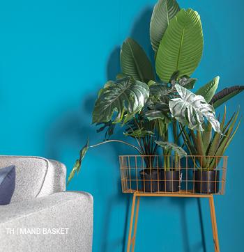 inspiratie trends tips van trendhopper: mand basket als plantenrek in het lente interieur