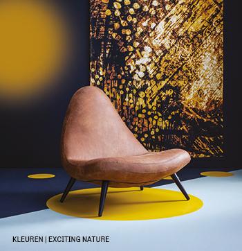 Kleuren blauw en geel in styletrend Exciting nature. #trend #kleur #fauteuil #wandkleed #wanddecoratie #trendhopper