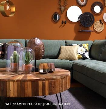 Woonkamer in styletrend Exciting nature. #bank #salontafel #woonaccessoires #trendhopper