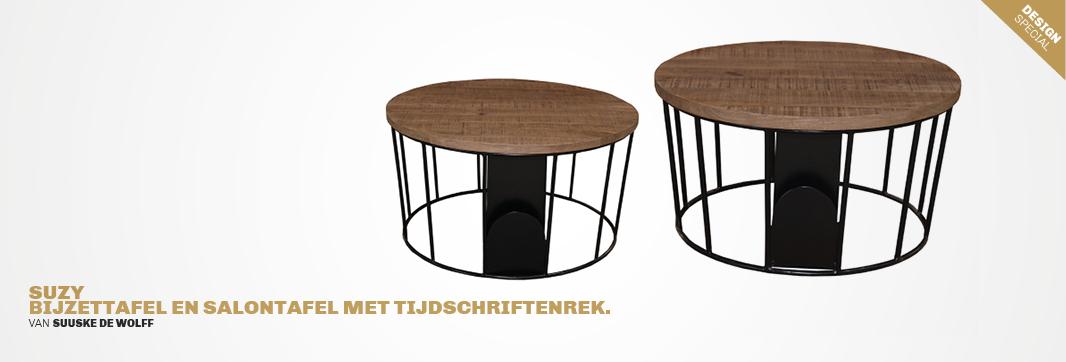 bijzettafel en salontafel met tijdschriftenrek Suzy van Trendhopper #tafel